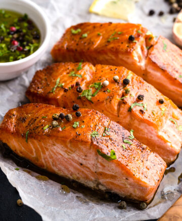 Cooked Salmon on tray
