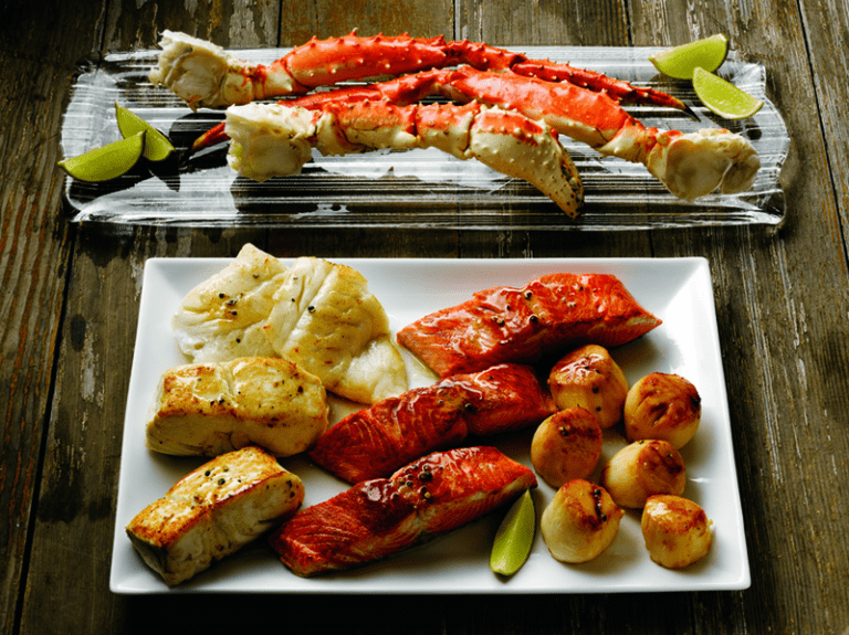 Grilling Alaska Seafood Group Shot King Crab Platter