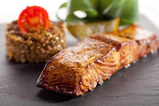 smoked salmon on table