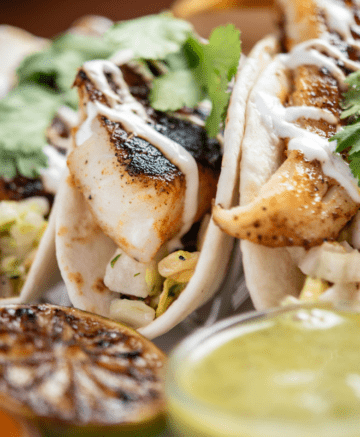 3 halibut tacos on plate