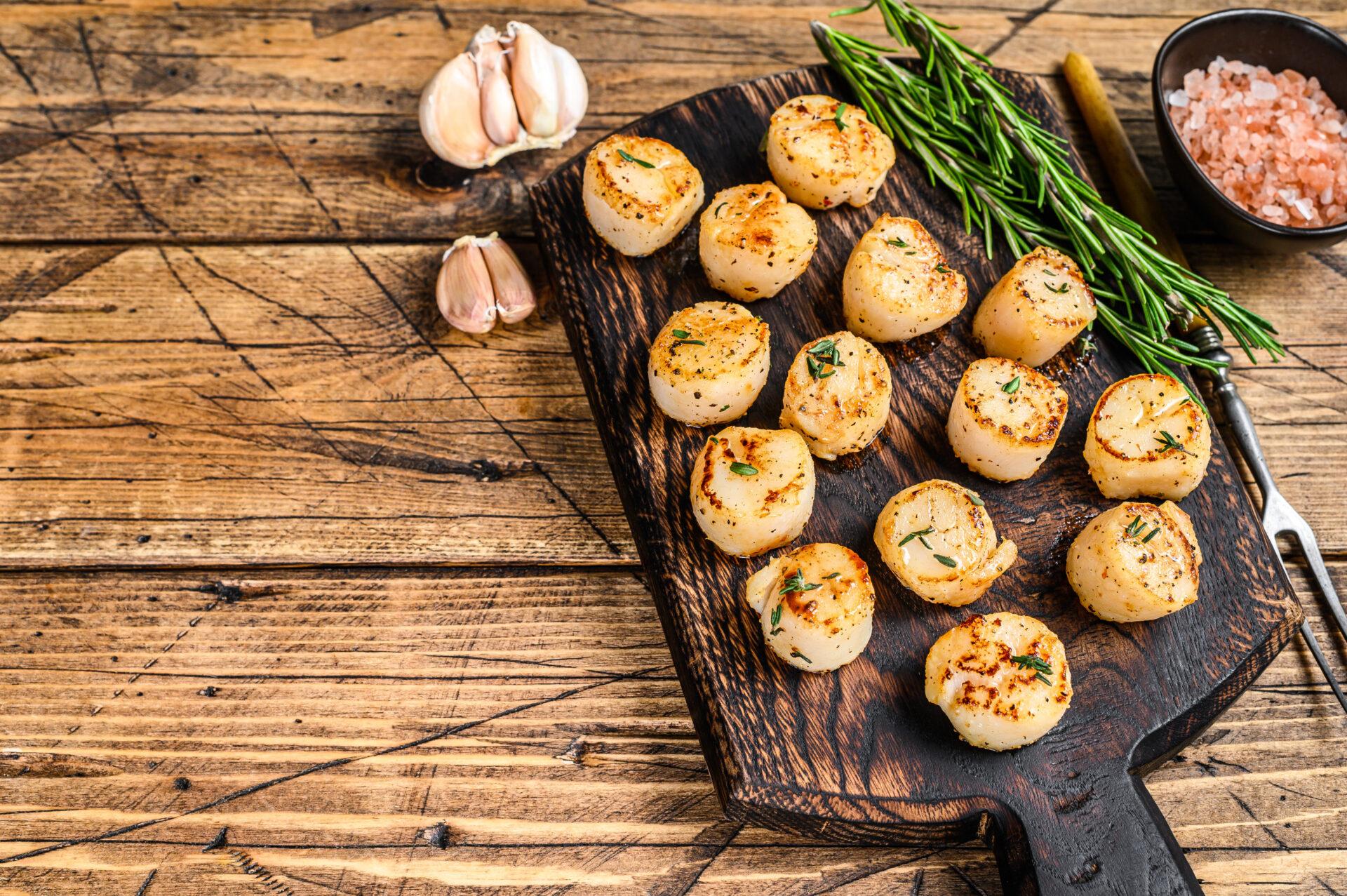 smoked scallops on platter